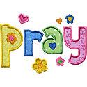 Pray Lettering Applique Design