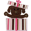 Puppy Present Applique Design