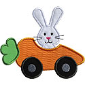 Rabbit Carrot Car Applique Design