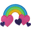 Rainbow Hearts Applique Design