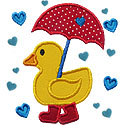 Raining Hearts Duck Applique Design