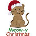 Santa Cat Applique Design