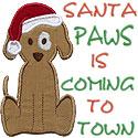 Santa Paws Dog Applique Design