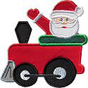 Santa Train Engine Applique Design