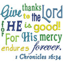 Scripture Give Thanks Applique Design