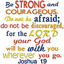 Scripture Strong Courageous Applique Design