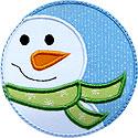 Snowman Circle Patch Applique Design