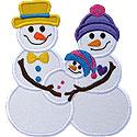 Snowman Couple Baby Applique Design