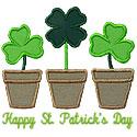 St Patricks Clover Flowers Applique Design