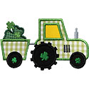 St Patricks Tractor Clover Applique Design