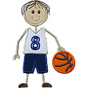 Stick Basketball Boy Applique Design
