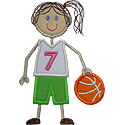 Stick Basketball Girl Applique Design