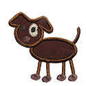Stick Figure Dog Applique Design