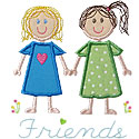 Stick Figure Friends Applique Design