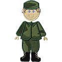 Stick Military Boy Applique Design