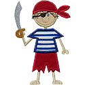 Stick Pirate Boy Applique Design