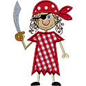 Stick Pirate Girl Applique Design