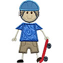 Stick Skateboard Boy Applique Design