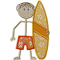 Stick Surfer Boy Applique Design