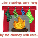 Stockings Chimney Fireplace Applique Design
