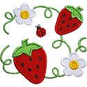Strawberry Blooms Applique Design