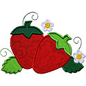 Strawberry Flowers Applique Design