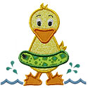Swimming Duck Applique Design