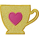 Teacup Heart Applique Design