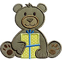 Teddy Bear Gift Applique Design