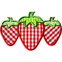 Three Strawberries Applique Design