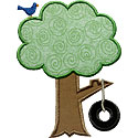 Tire Swing Tree Applique Design