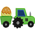 Tractor Easter Eggs Applique Design