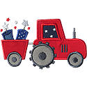 Tractor July Fireworks Applique Design