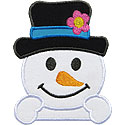 Traditional Snowman Applique Design
