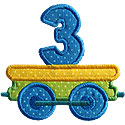 Train Birthday Numbers Applique Design