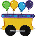Train Car Balloons Applique Design