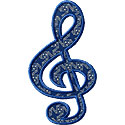 Treble Clef Music Note Applique Design