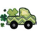 Truck St Patricks Clover Applique Design