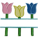 Tulip Name Plate Applique Design