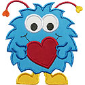 Valentine Monster Applique Design