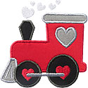 Valentine Train Engine Applique Design