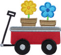Wagon Flowers Applique Design