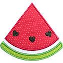 Watermelon Slice Hearts Applique Design