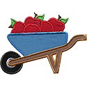 Wheelbarrow Apples Applique Design