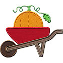 Wheelbarrow Pumpkin Applique Design