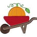 Wheelbarrow Pumpkin Applique Design