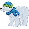 Winter Polar Bear Applique Design