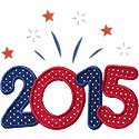 Year 2015 Fireworks Applique Design