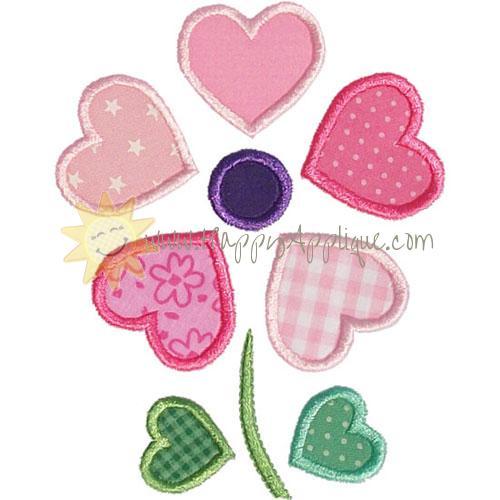 Heart Flower Applique Design