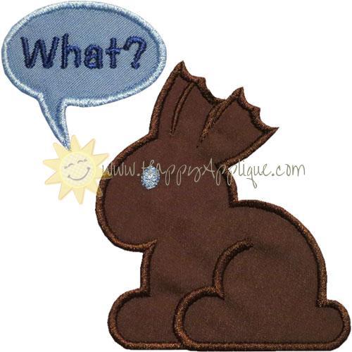 Chocolate Bunny What Applique Design